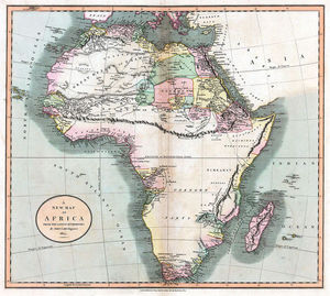 A map of Africa, made by John Cary in 1805 showing the mountains of Kong extending eastwards to the Moon mountains. Source: Wikipedia