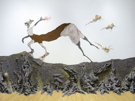 Once upon a time she said, I'm not afraid and her enemies became afraid of her The End, 2013. Mixed media, dimensions variable. Courtesy of the artist. © Wangechi Mutu. Image courtesy of the Nasher Museum of Art at Duke University, Durham, North Carolina. Photo by Peter Paul Geoffrion