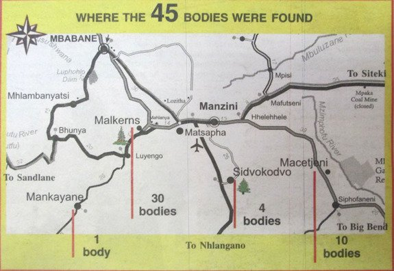 A map of where the bodies were found, printed in a Swazi newspaper.