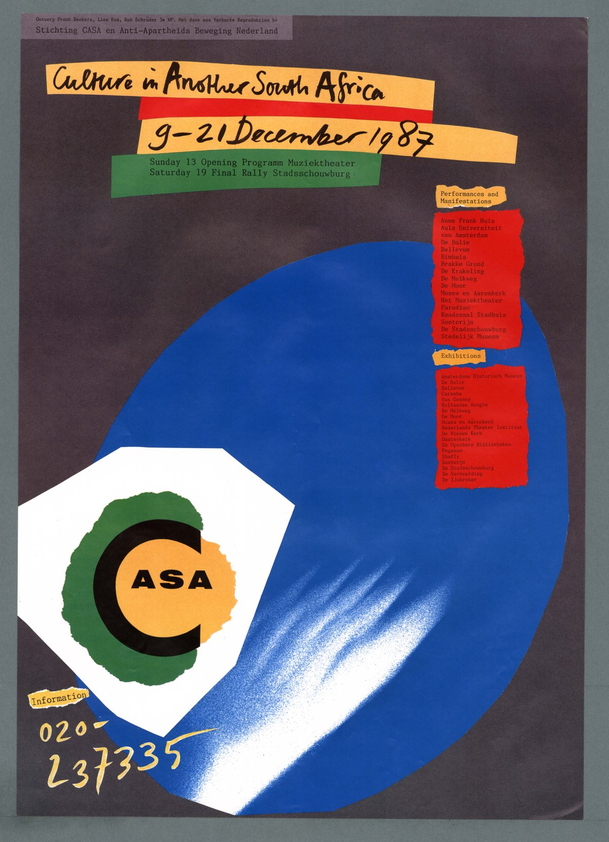 Poster design johannesburg - Culture In Another South Africa Poster 1987 Amsterdam Design Lies Ros Rob Schr Der Frank Beekers